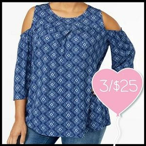 ⭐3/$25⭐ Style & Co Printed Cold Shoulder Top